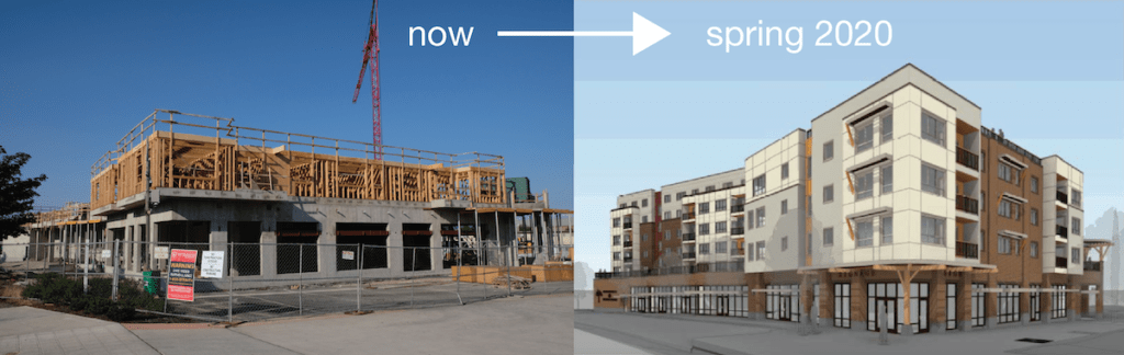 Two side-by-side images show FIN's Food Hall building under construction now, and a rendering of how the building will look when completed in 2020.