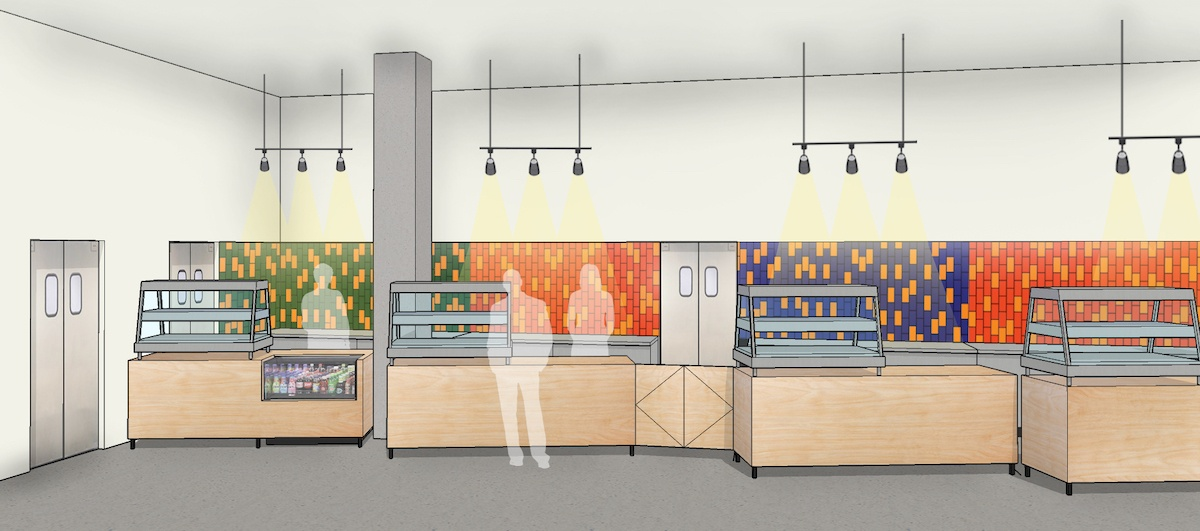 Rendering of colorful food retail stalls